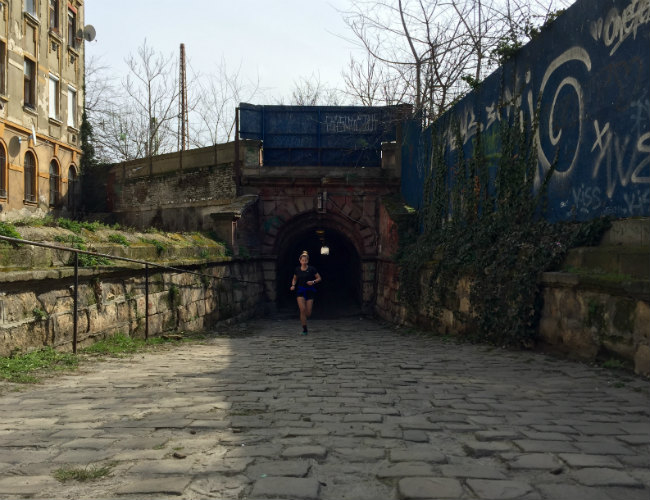 Bajza Street tunnel in Budapest with Csilla Fazekas running to discover the city