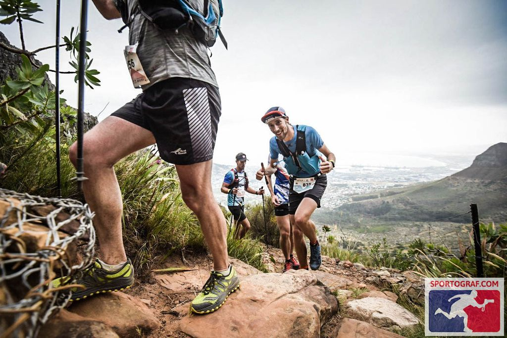 FloRuns speed-hiking up Platteklip Gorge during the Ultra-Trail Cape Town