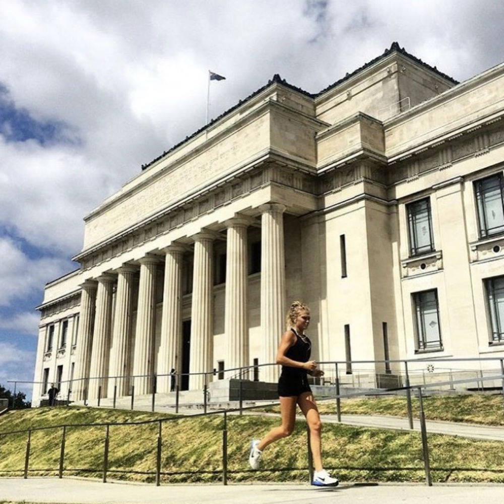 Esther Keown running at Auckland Domain