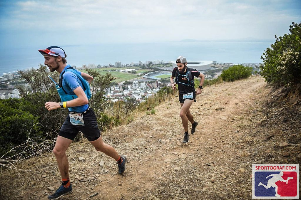 FloRuns running Ultra-Trail Cape Town along the Signal Hill with Cape Town Stadium and Green Point in the background.